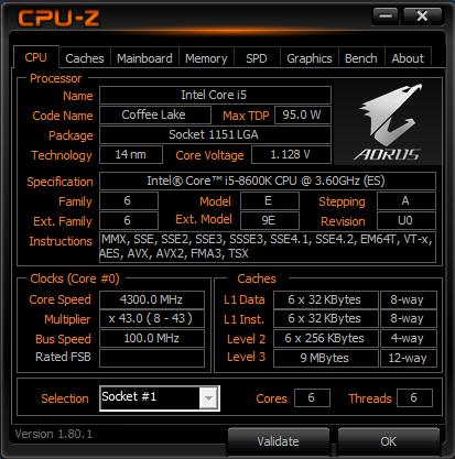 CPUz - Core i5-8600K