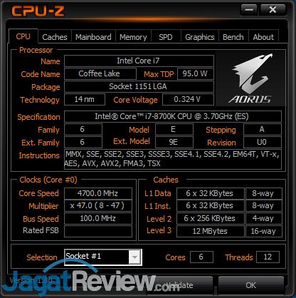 CPUz - Core i7-8700K