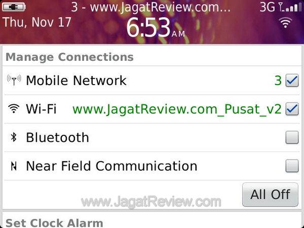 Blackberry Bold 9900 Network menut