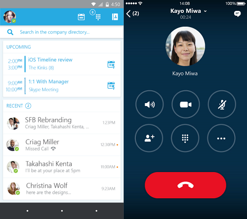 skype for business android ios