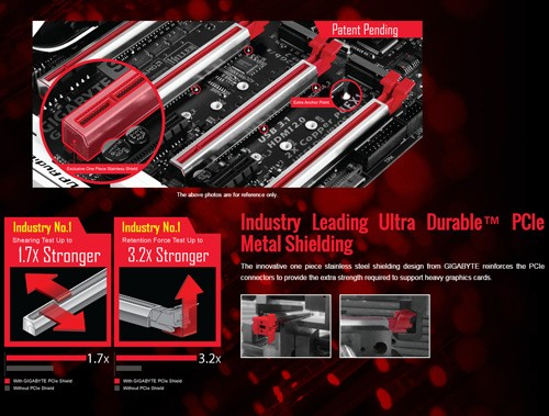 GIGABYTE Z170X-Gaming G1 Ultra Durable PCIe Metal Shielding