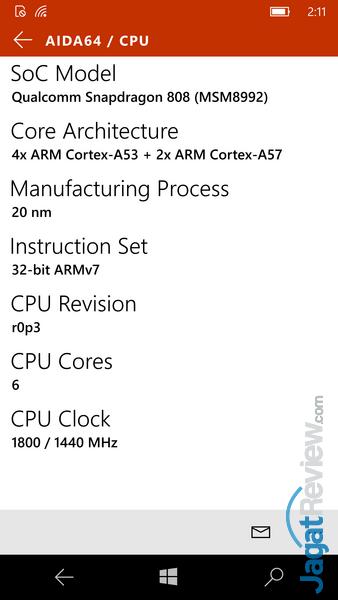 Lumia 950 - AIDA 64 CPU
