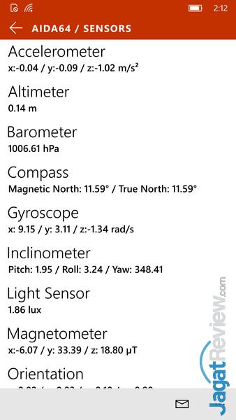 Lumia 950 - AIDA 64 Sensor