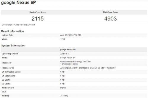 Geekbench - Nexus 6P Refresh