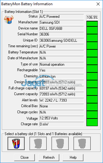 Dell Inspiron 15 Gaming 7567 Battery Info