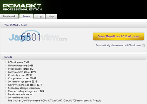 Acer Swift 3 SF314 52G PCMark 7 Details Score