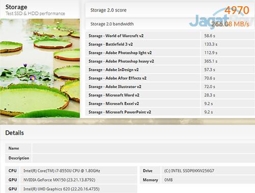 Acer Swift 3 SF314 52G PCMark 8 Storage