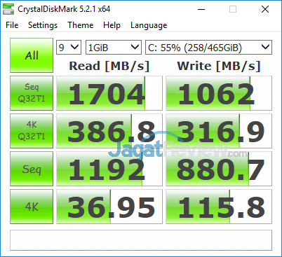 DELL XPS 13 9365 2-in-1 Crystal Disk Mark