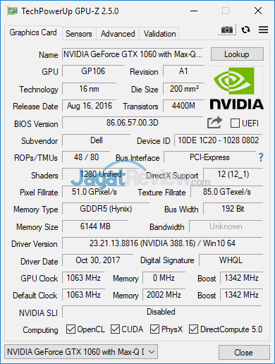 Dell Inspiron Gaming 7577 GPUZ 01