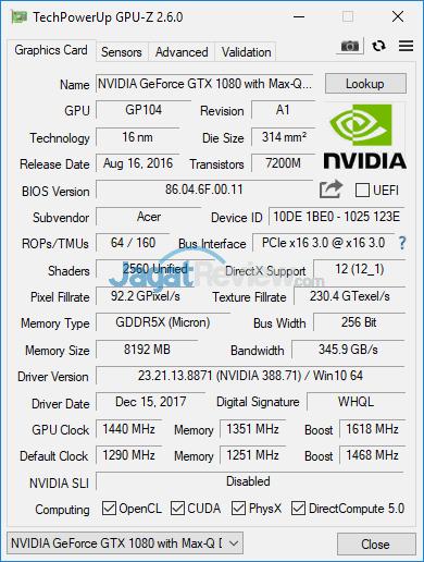 Acer Predator Triton 700 GPUZ 03 Turbo