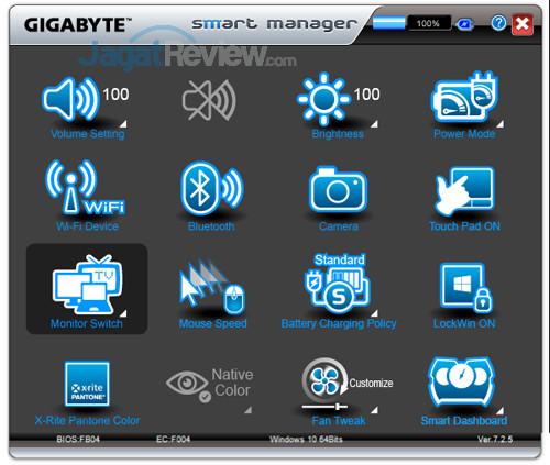 Gigabyte Aero 15X v8 Smart Manager 10