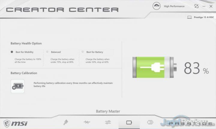 MSI Creator Center Battery Master