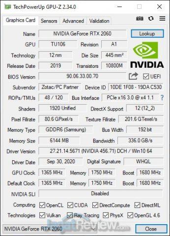 GPUZ RTX 2060 eGPU