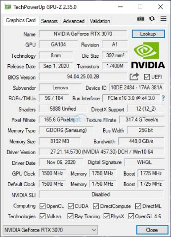 GPUZ RTX 3070 FE