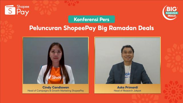 KV Head of Campaigns Growth Marketing ShopeePay Cindy Candiawan dan Head of Research Jakpat Aska Primardi di acara Peluncuran ShopeePay Big Ramadan Deals Senin 26 Ap