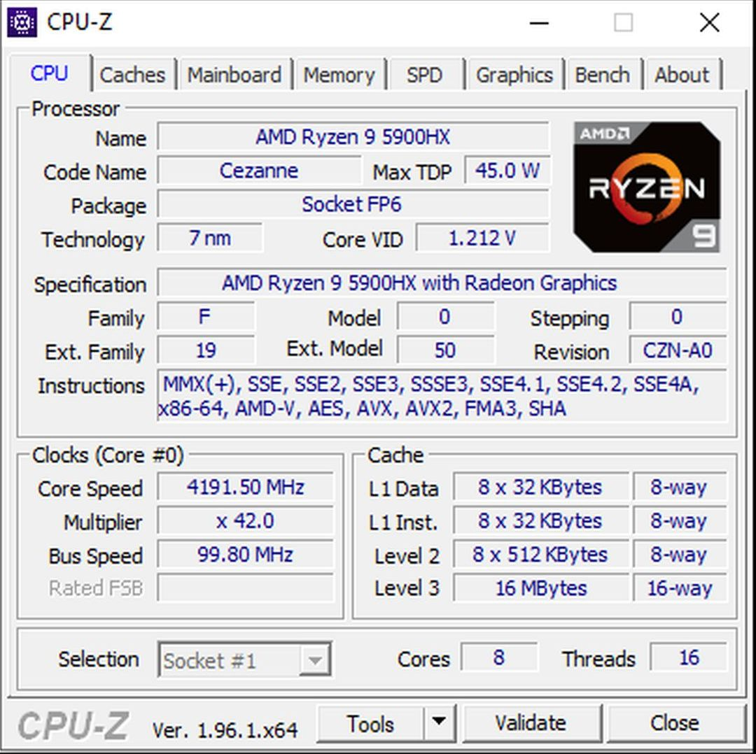 HW 5900HX CPUZ