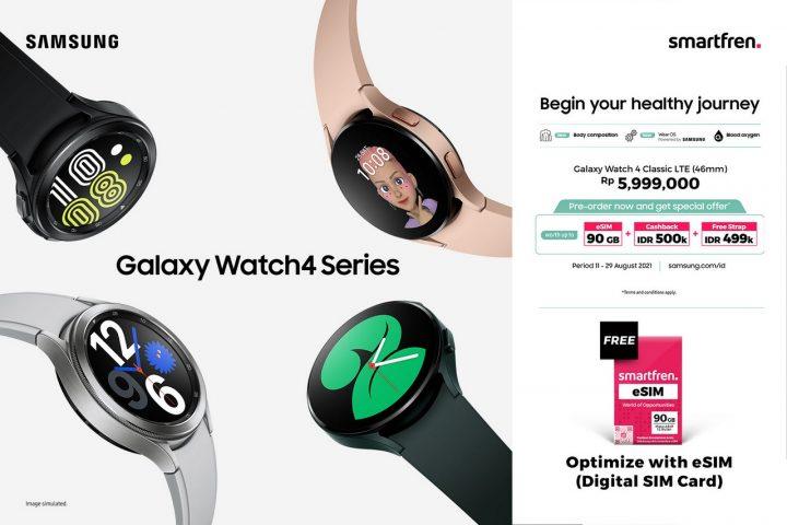 Eksklusif Smartfren eSIM 90 GB untuk digunakan di Samsung Galaxy Watch4 LTE