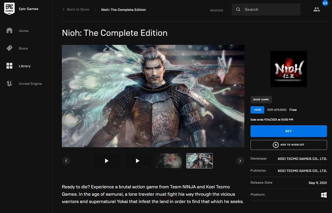 nioh the complete edition epic games store